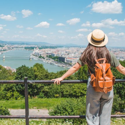 Young,Stylish,Woman,Looking,At,Panoramic,View,Of,Budapest,City.